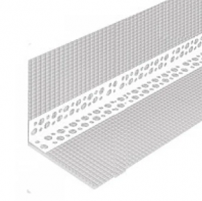 Профиль угловой перфорированный с сеткой пластиковый 7х7, 3 м