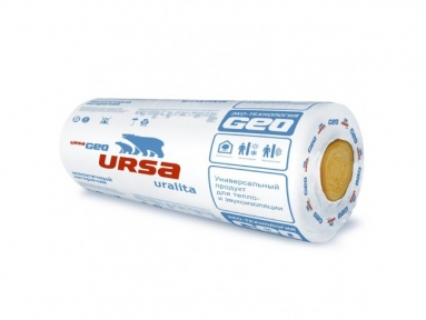 URSA (УРСА) GEO М-11 BIG ROLL Минеральная вата 12 м.кв (10000х1200х100 мм)  пак 1,2 м.куб/ в палете 24 шт